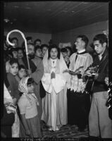 Las Posadas procession on Olvera Street, Los Angeles, 1949