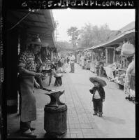 Olvera Street scene, Los Angeles, 1960