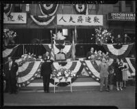 Madame Chiang Kai-Shek speaks at a rally in Chinatown, Los Angeles (Calif.)