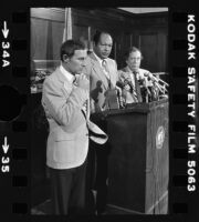 Mayor Tom Bradley, Police Chief Darryl Gates, and Police Commmision President Stephen Reinhardt