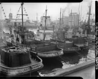 Impounded Japanese fishing boats, Fish Harbor, Los Angeles (Calif.)
