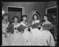 Nisei festival queens pose with flowers in Little Tokyo, Los Angeles, 1953