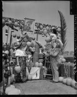 Preparing for a fiesta on Olvera Street, Los Angeles, 1949