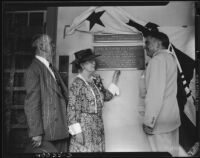 Dedication of a plaque at Rancho Los Cerritos, Long Beach, California, 1947
