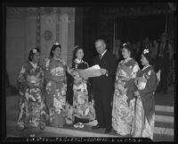 Mayor Fletcher Bowron at a Nisei festival in Little Tokyo, Los Angeles, 1940