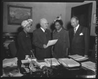 Mayor Fletcher Bowron proclaims Negro History Week in Los Angeles (Calif.)