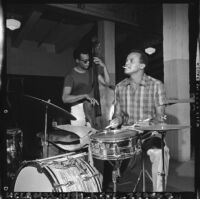 Harry Belafonte plays the drums, Los Angeles, 1965