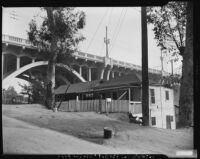"Bridge in Chavez Ravine's ""Lil' Town"". Los Angeles, 1950"