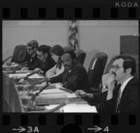 Assemblyman Willie L. Brown presides over subcommittee hearing, Los Angeles (Calif.)