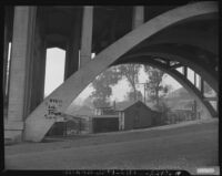 "View under bridge towards Chavez Ravine's ""Lil' Town"", Los Angeles, 1950"