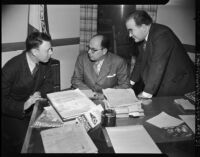 Laurence I. Hewes Jr., Cesar Martino, and Manuel Aguilar discuss Mexican farm labor