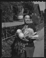 Japanese man with vegetables
