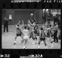Lew Alcindor plays offense for UCLA basketball against Duke University
