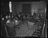 U.S. Army authorities discuss Japanese American activities, Los Angeles, 1941
