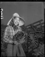 Cabbage farmer Chiyeko Suzumoto in Gardena (Calif.), 1951