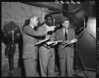 "Jackie Robinson,  Joe Nadel, and Al Green on the set of ""The Jackie Robinson Story,"" Los Angeles, 1950"