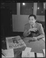 """Joseph Salvatore """"Sparky"""" Saldana, newspaperman and press agent, 1949"""