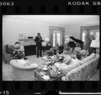 Mayor Tom Bradley hosts guests in the living room of the Official Mayor's Residence