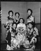 Nisei Festival Week Queen and contest finalists, Los Angeles, 1954