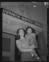 Virginia Swanson Yamamoto in front of Terminal Island Baptist Church, Terminal Island, 1940