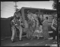 Raising funds for flood victims in Sonora, Los Angeles, 1949