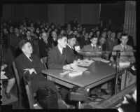 Japanese American Anti-Axis Committee members testify before the Tolan Committee