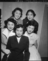 Nisei Week Festival queen finalists, Little Tokyo, Los Angeles, 1950