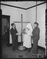 Robert Walker Kenny with a man in Ku Klux Klan costume