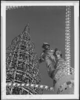 Simon Rodia and his Watts Towers, portrait