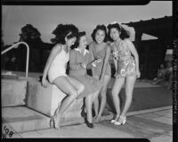 Japanese American beauty contestants model swimsuits
