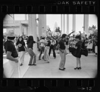 """Zoot Suit"" cast members dance in the Mark Taper Forum, Los Angeles (Calif.)"