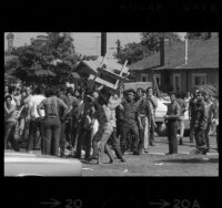 Rioting following Chicano Moratorium Committee antiwar protest, East Los Angeles, 1970