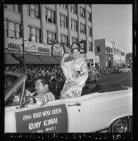 Nisei Festival Week Queen rides in parade through Little Tokyo, Los Angeles 1966, 1966