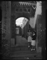 Schoolgirls outside an Old Chinatown temple, Los Angeles (Calif.)