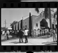 Mourners pay respects to Ruben Salazar, Los Angeles, 1970