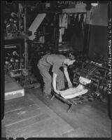 Print shop in Little Tokyo, Los Angeles, 1941