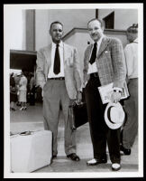 Artists Hale Woodruff and Charles Alston at Union Station during the Golden State Mutual mural research tour, Los Angeles, 1948