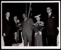 Vivian Osborne Marsh at the launching of the S. S. Ocean Telegraph, Oakland, 1945