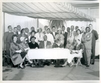 Drs. Vada and John Somerville with twenty-six others at an unidentified event, Los Angeles, 1950s-1960s