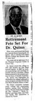 "Newspaper Article ""Retirement Fete Set for Alfred Thomas Quinn"""