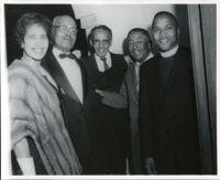 Juanita Miller, Dr. John A. Somerville, Judge Loren Miller, Dr. William Bailey and Lewis Bohler at a formal event 1950s-1960s