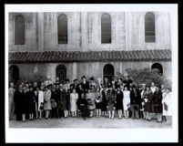 Reverend H. Randolph Moore and congregation in front of St. Philip's Episcopal Church, Los Angeles, circa 1950