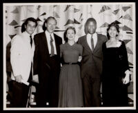 Tony Curtis, Sidney Poitier, Juanita Ellsworth Miller and two others, circa 1958