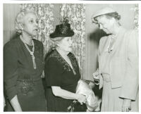 Dr. Vada Somerville and Eleanor Roosevelt, at the Somerville home, Los Angeles, 1950