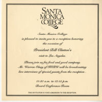 Invitation to Luncheon honoring President Bill Clinton