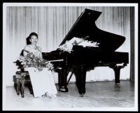 Lorenza Jordan Cole, concert pianist, at a recital at the Embassy auditorium, Los Angeles, 1948