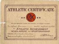 William McKinley Junior High School Athletic Certificate
