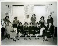 Dr. Dorothy Height, Dr. Vada Somerville, Juanita Miller, Louise Grooms, Eunice H. Carter, Mamie Davis and others at a gathering, Los Angeles, 1950s
