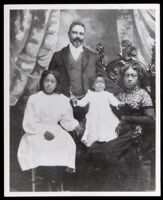 Captain William Shorey and his daughters (left to right) Zenobia Shorey and Victoria Shorey, and wife, Julia Ann Shelton Shorey, Oakland, circa 1890-1891