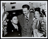 Charlotta Bass at an event with Adam Clayton Powell, Jr., Hazel Scott, circa 1945-1950
